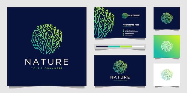 Elegante blumenlogo-design-farbverlaufslinienkunst.