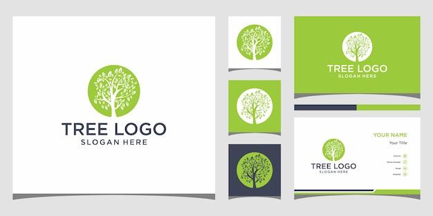 Elegante blumenlogo-design-linienkunst und visitenkarte premium vector