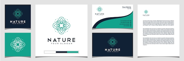 Elegante blumenlogo-design-linienkunstkarte