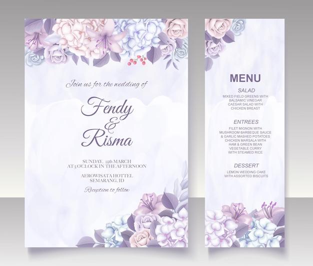 Elegante blumenschablonenhochzeitskarte