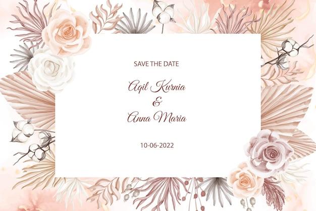 Elegante boho-verlobungs-rosen-aquarell-hochzeitseinladungs-vorlage