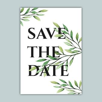 Elegante botanische abwehr die datumskarte mit aquarellillustration