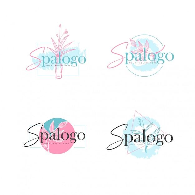 Elegante botanische badekurort-logo-schablone