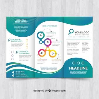 Elegante broschüre vorlage mit wellen