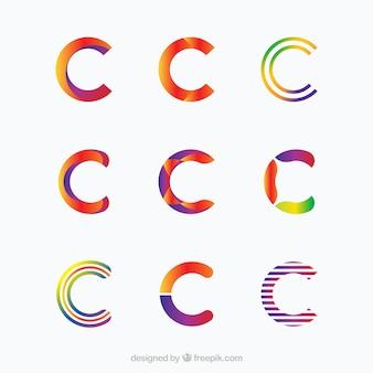 Elegante buchstaben c logo sammlung
