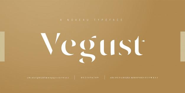 Elegante buchstaben- und zahlenbuchstaben. klassische beschriftung minimal fashion designs. typografie schreibt reguläre groß-, klein- und zahlen. illustration
