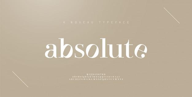 Elegante buchstaben- und zahlenbuchstaben. klassische beschriftung minimal fashion designs. typografie-schriftarten werden regelmäßig in groß- und kleinbuchstaben geschrieben. illustration