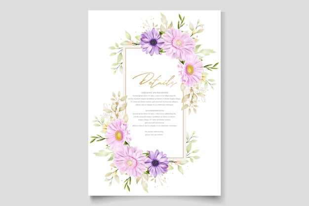 Elegante chrysantheme aquarell einladungskarte