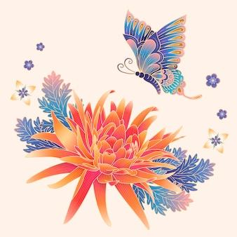 Elegante chrysantheme und schmetterling in farbverlaufsfarben für designzwecke