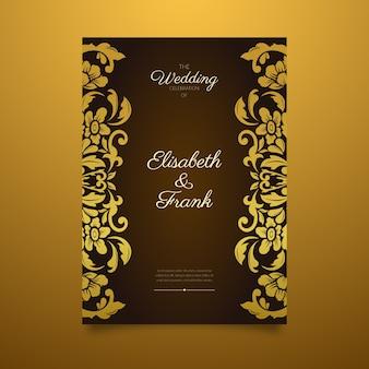 Elegante damasthochzeits-einladungsschablone mit goldener grenze