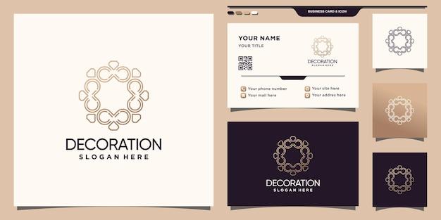 Elegante dekorationslogoinspiration mit linie kunststil und visitenkartendesign premium-vektoren