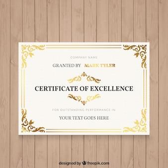Elegante Diplom mit ornamentalen Details