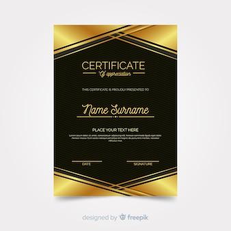 Elegante diplomschablone mit goldenen elementen