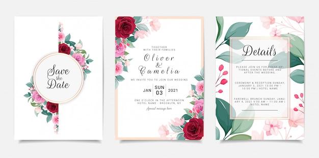 Elegante einladungsschablone eingestellt mit blumenrahmen. botanische illustration der rosen und der blätter