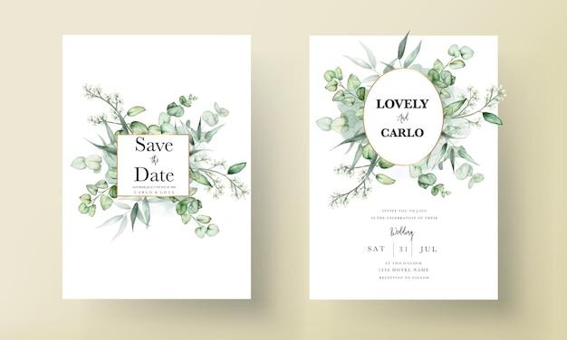 Elegante eukalyptusblätter aquarell hochzeitseinladungskarte
