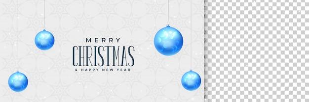 Elegante fahne der frohen weihnachten mit blauen weihnachtsbällen