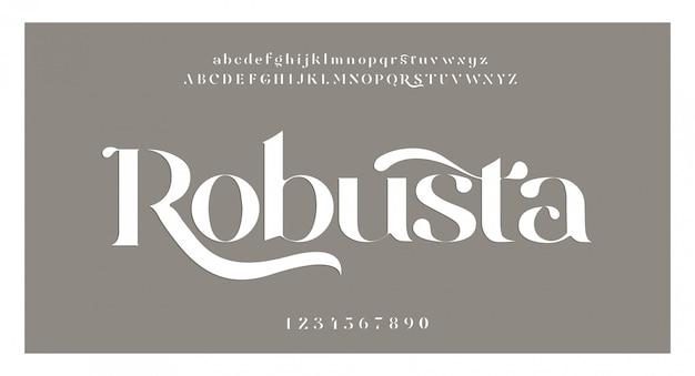 Elegante fantastische alphabetbuchstabenschrift und -zahl. klassische beschriftung minimal fashion designs. typografie-schriftarten werden regelmäßig in groß- und kleinbuchstaben geschrieben. vektorillustration