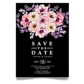 Elegante floral digital hochzeit ereignis einladungskarte bearbeitbare vorlage