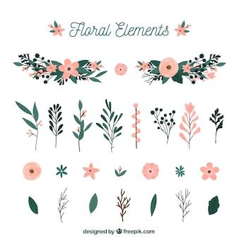 Elegante florale Elementsammlung mit flachem Design