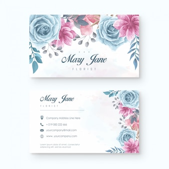 Elegante floristen-visitenkarte-schablone mit dem aquarell mit blumen