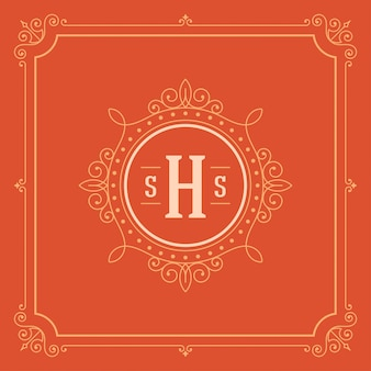 Elegante flourishesverzierungen des vintagen logos