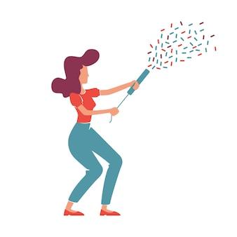 Elegante frau des retro-stils mit gesichtslosem charakter des flachen farbvektors des konfetti-popper