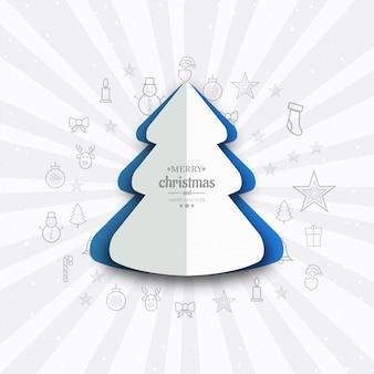 Elegante fröhliche weihnachtsbaumkartenhintergrund-vektorillustration