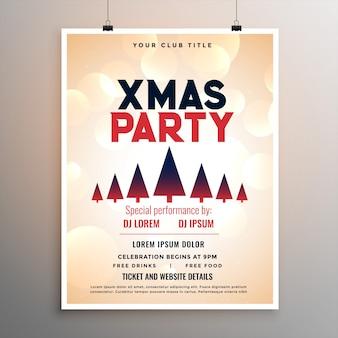Elegante frohe weihnachten party flyer vorlage