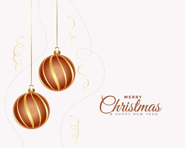 Elegante frohe weihnachtskarte mit realistischem ball