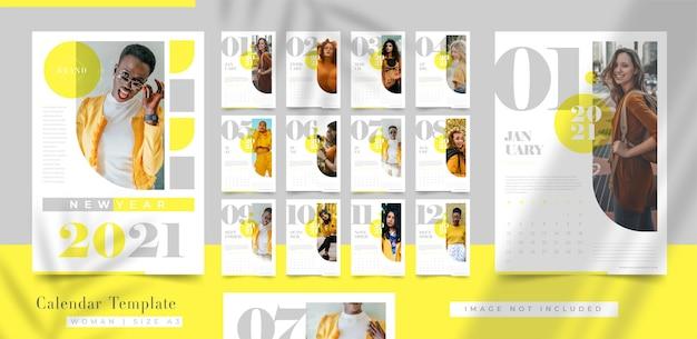 Elegante frohes neues jahr-kalendervorlage Premium Vektoren