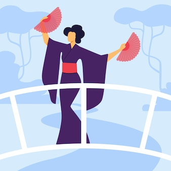 Elegante geisha in der kimono-flachen vektor-illustration