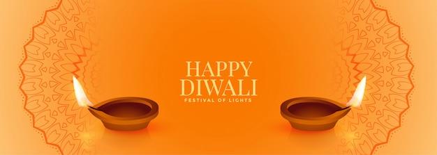 Elegante gelbe glückliche diwali fahne mit zwei diya