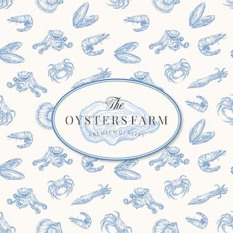 Elegante geöffnete austern-zeichnungsskizze mit nahtlosem muster von meeresfrüchten