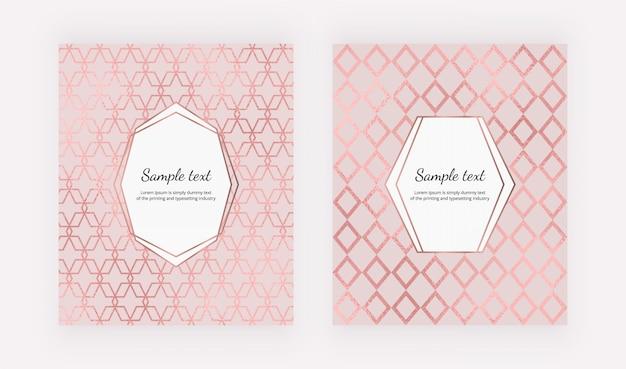 Elegante geometrische bezüge mit roségoldfolienstruktur