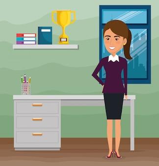Elegante geschäftsfrau in der büroszene