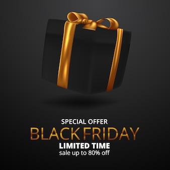 Elegante geschenkbox für black friday sale angebot banner