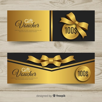 Elegante geschenkgutscheinschablone mit goldener art