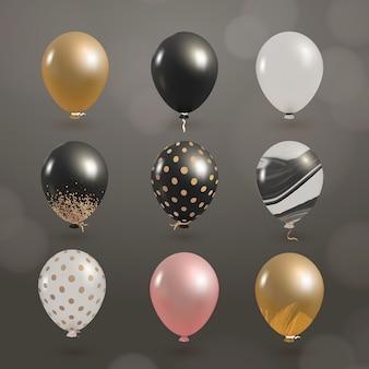 Elegante glänzende luftballons gesetzt
