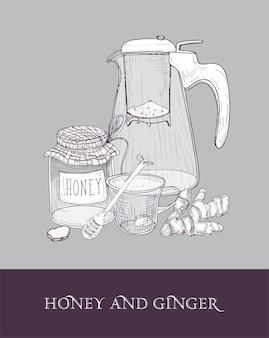 Elegante glasteekanne oder krug mit sieb, tasse tee, glas honig, ingwerwurzel und schöpflöffel handgezeichnet