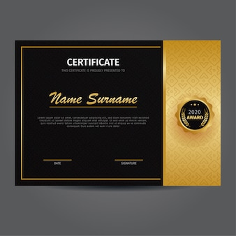 Elegante gold zertifikatvorlage