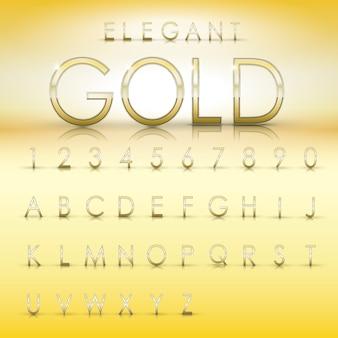 Elegante goldalphabete und zahlensammlung auf gelbem hintergrund