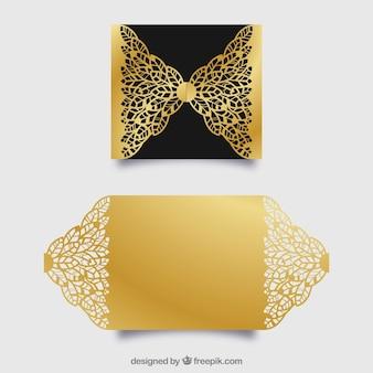 Elegante goldene einladung mit laserschnitt