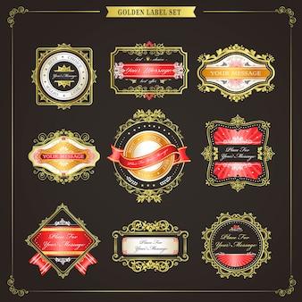 Elegante goldene etikettenkollektion in premiumqualität über schwarz