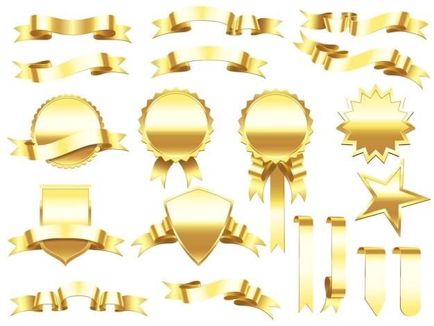 Elegante goldene farbbandkennsätze und produktfahnen.