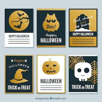 Elegante goldene halloween-karten-set