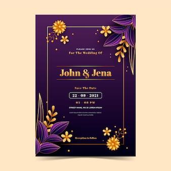 Elegante goldene hochzeitseinladungen mit farbverlauf