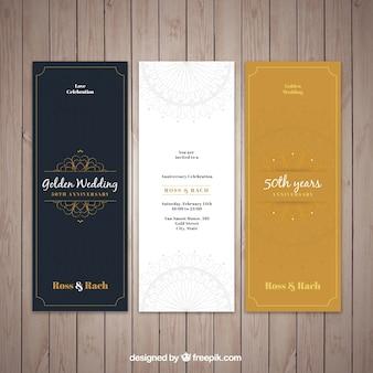 Elegante goldene hochzeitseinladungen