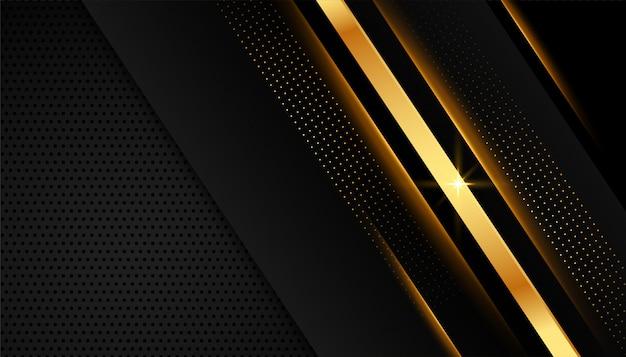 Elegante goldene linien auf dunklem schwarzem hintergrund