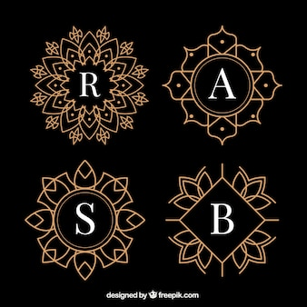 Elegante goldene monogramme packen