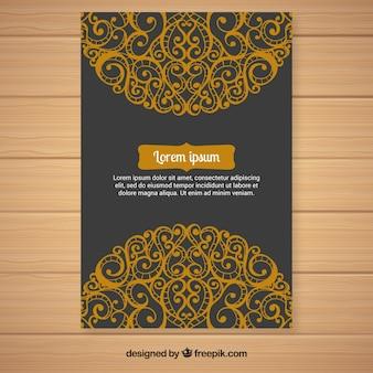 Elegante goldene ornamentale einladung
